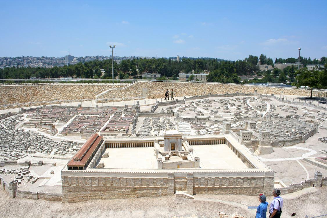 Maquete que retrata a Cidade Velha de Jerusalém em exposição no Museu de Israel