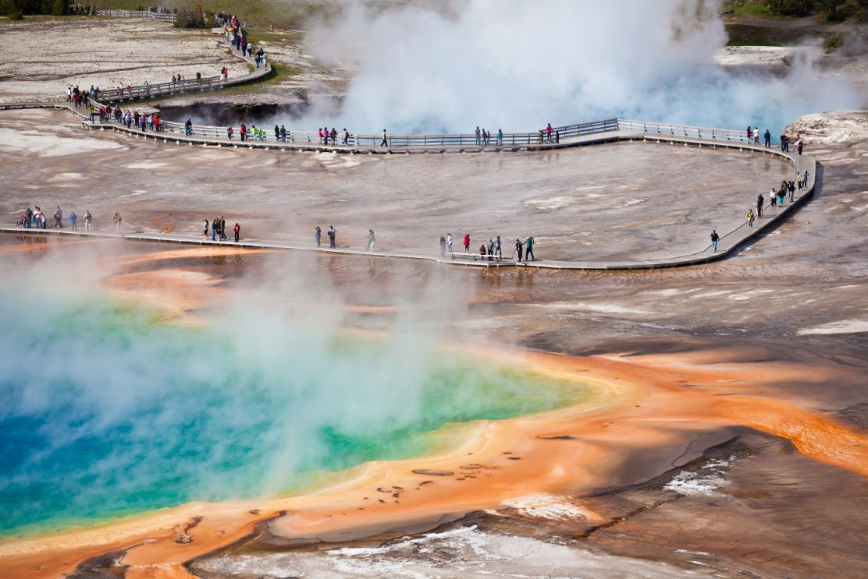 Fontes termais naturais no Yellowstone National Park